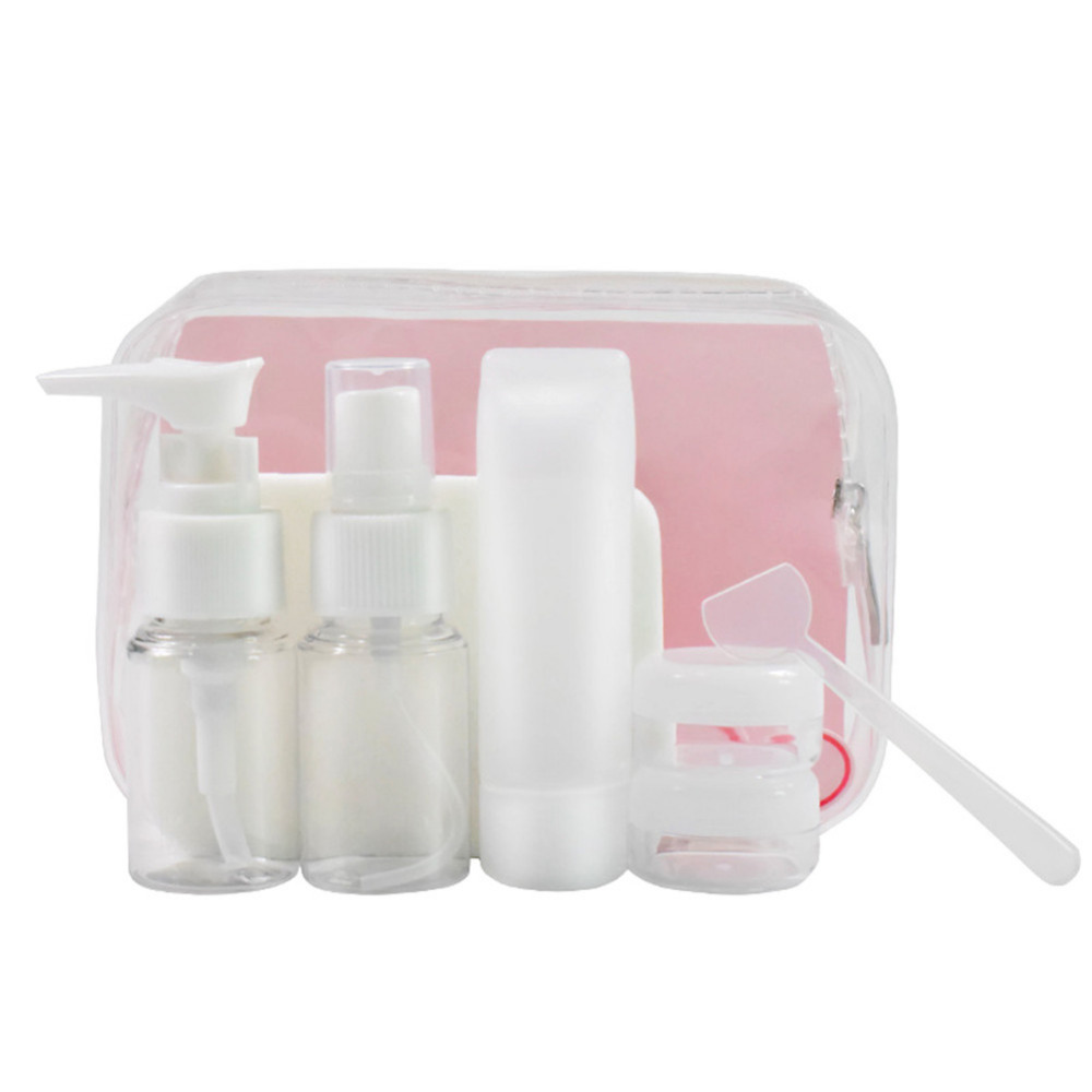 6pcs/set Makeup Spray Bottles Kits Portable Perfume Shampoo Cream Lotion Container Travel Press Cosmetic Bottle Set with Pouch travel container set