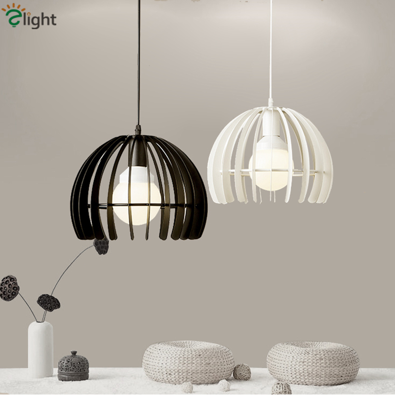 2016 Nordic Black & White Iron Birdcage Style Led Pendant Light Frosted Glass Double Shades Hanging Light