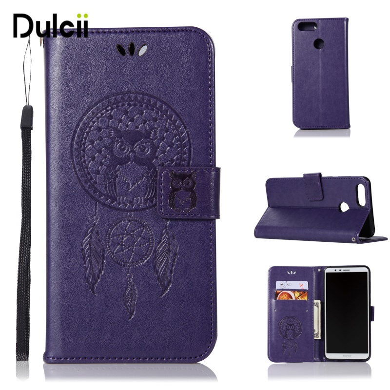 DULCII Honor 7x Case for Huawei Honor7X Phone Bag Cover Imprint Owl Dream Catcher Pattern PU Leather Wallet Smartphone Protect