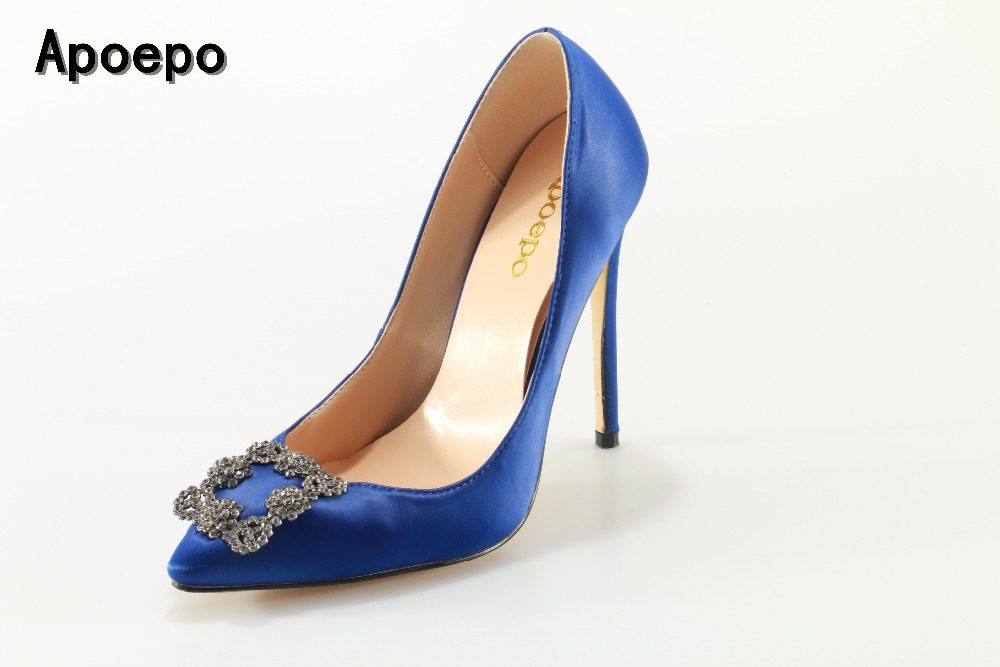 Apoepo Hot selling blue satin high heel shoes sexy pointed toe stiletto heels 2017 crystal embellished buckle wedding heels hot selling crystal embellished wedding heels sexy peep toe platform pumps woman high heel shoes
