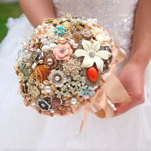 WONDMOND ramo de novia Vintage Gold Wedding Bouquet