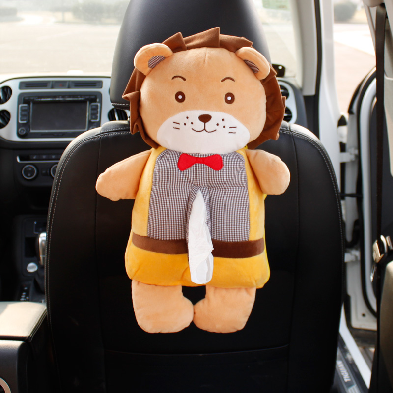 Cartoon Animals Car Seat Back Organizer Tissue Holder Box Soft Plush Toy for children Pillow Auto Neck Protecting Pillows ...