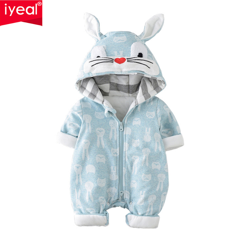 IYEAL Baby Clothing 2018 New Cute Rabbit Hooded Newborn Jumpsuit Baby Boy Girl Romper Toddler Clothes Long Sleeve Infant Outwear чайник электрический marta mt 1095 черный жемчуг