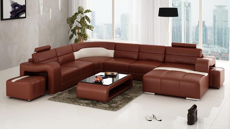 2015 Modern Leather Living Room Corner Sofa Home Furniture ...