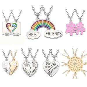 Trendy Best Friends Pendant Necklace Rainbow Broken Heart Necklace For Women Chain BFF Friendship Jewelry
