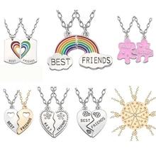 Trendy Best Friends Pendant Necklace Rainbow Broken Heart For Women Silver Chain BFF Friendship Jewelry