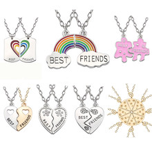 Trendy Best Friends Pendant Necklace Rainbow Broken Heart Necklace For Women Silver Chain BFF Friendship Jewelry(China)