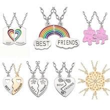 622968efc610 De mejores amigos COLLAR COLGANTE Arco Iris Corazón Roto Collar para las  mujeres Cadena de plata mejor amigo joyería de la amist.