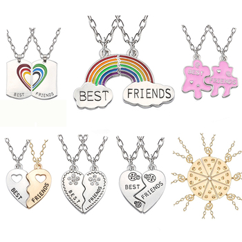 Trendy Best Friends Pendant Necklace Rainbow Broken Heart Necklace For Women Silver Chain BFF Friendship Jewelry vq30det エキマニ