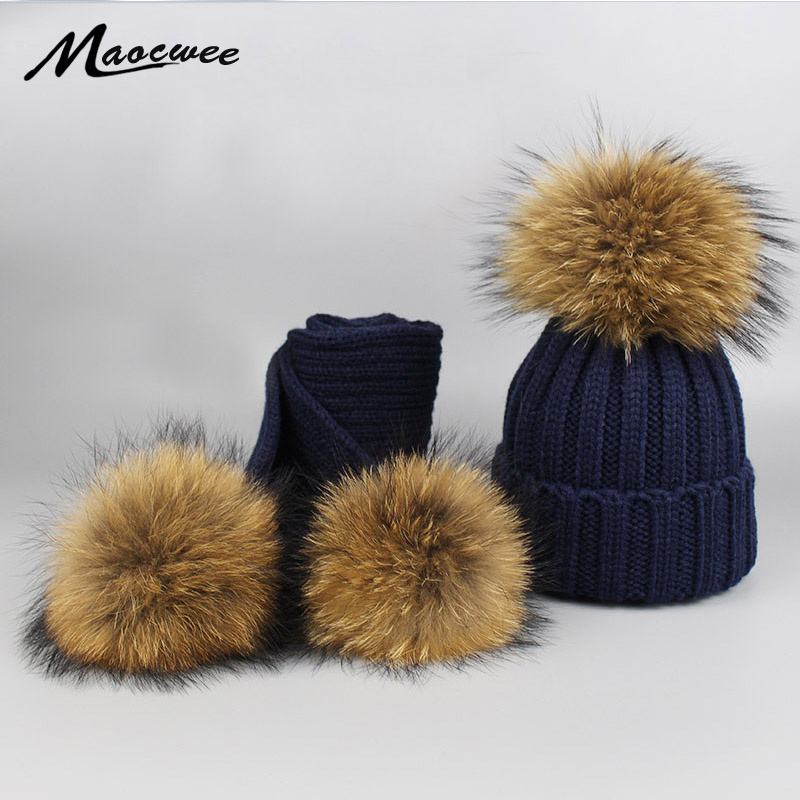 Children Winter PomPom Top Hats Caps and Scarves Set for Women Mask Beanie Warm Knitted Bobble Nature Raccoon Fur Hat Bone Gorro