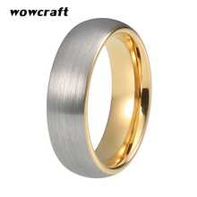цена 6mm Gold Tungsten Wedding Band for Women Silver Surface Engagement Ring Brushed Finish Tungsten Jewelry Rings with Comfort Fit в интернет-магазинах