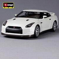 Bburago 1:18 2009 nissan gtr white car diecast luxury car model open doors motorcar collecting as gift for men 12079