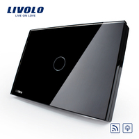 Free Shipping Livolo Remote Switch Black Crystal Glass Panel Wall Light Remote Dimmer Switch US AU