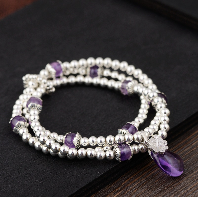 2018 Women Bracelet Kehribar Sterling Bracelet S925 Silver, Craft Female Of Diy Amethyst Hand String Of Summer New Products s925 pure silver silver pearl tassel circle brand personality joker contracted female bracelet hand string of wholesale