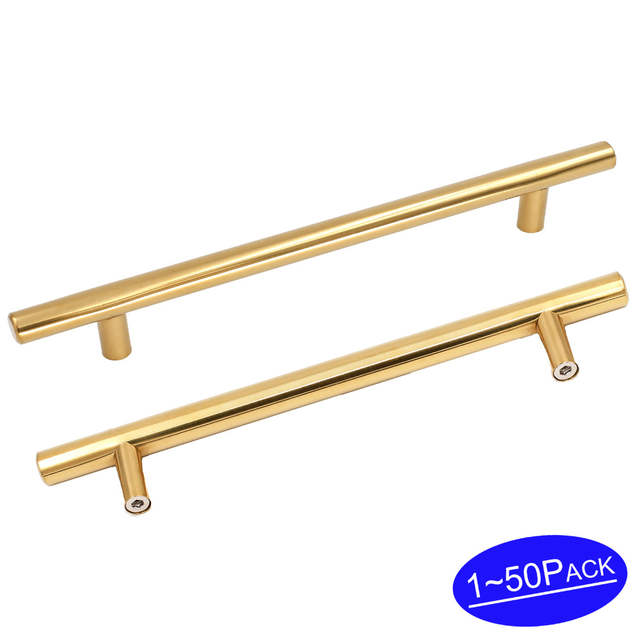 Online Gold Kitchen Cabinet Hardware Pulls Polished Br Furniture Cupboard Desk Drawer Handles 201pb 6 25 Hole E T Bar 1 50 Pack Aliexpress