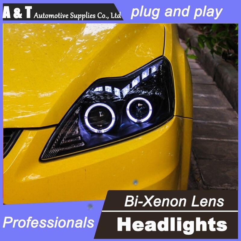 стайлинга автомобилей для Форд Фокус передняя фара в сборе 2011-2014 для Фокус светодиодные лампы глаза ангела би ксенон линзы H7 d2h, можно с HID комплект 2шт