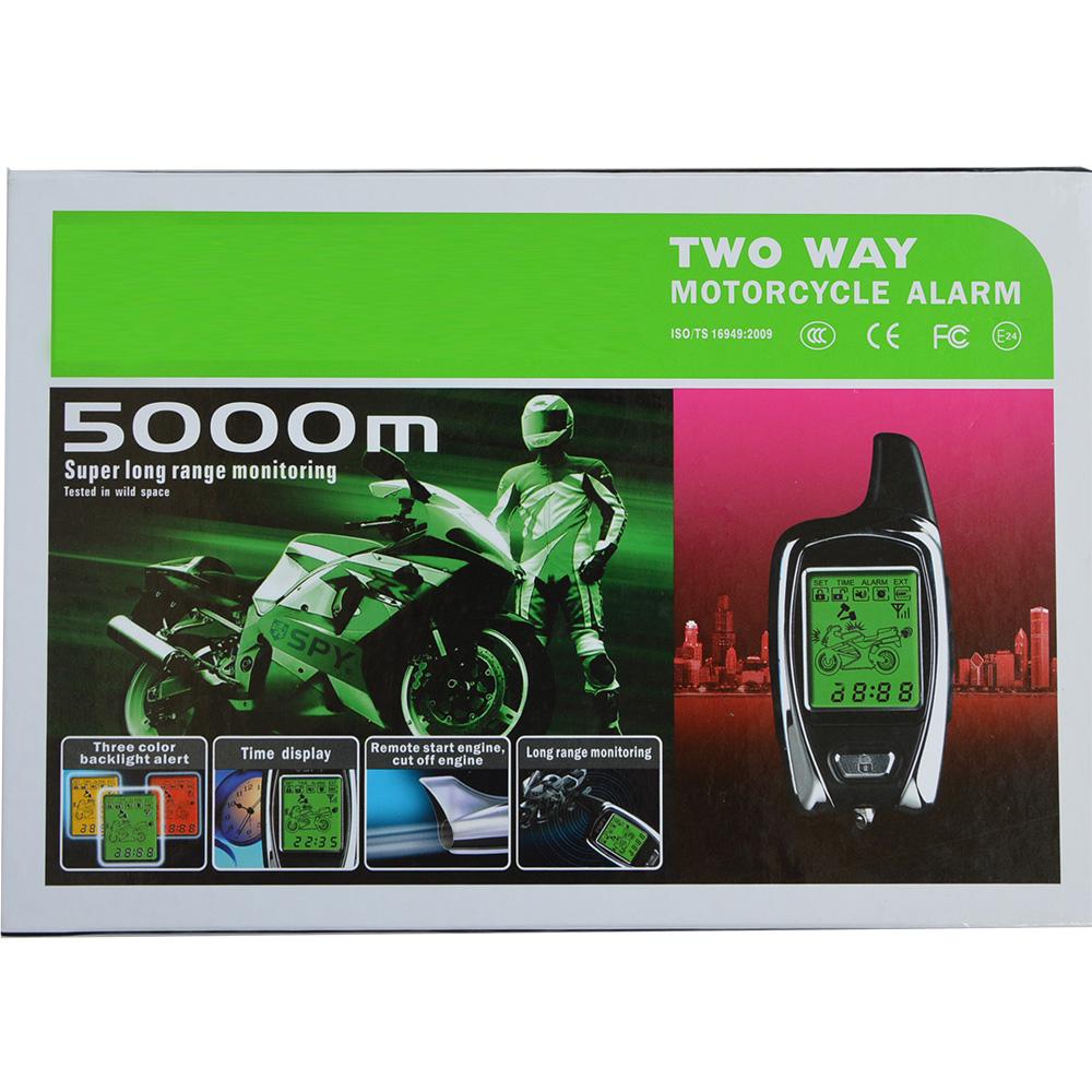 Prix pour Haute qualité SPY 5000 m deux voies système d'alarme de moto avec 2 émetteurs LCD démarreur à distance et micro-ondes capteur vélo alarme