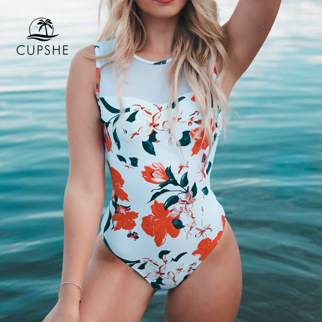 dc630ce4976 CUPSHE Pure Love Mesh One-piece Swimsuit Women Flora Print Lace Up Summer  Sexy Bikini