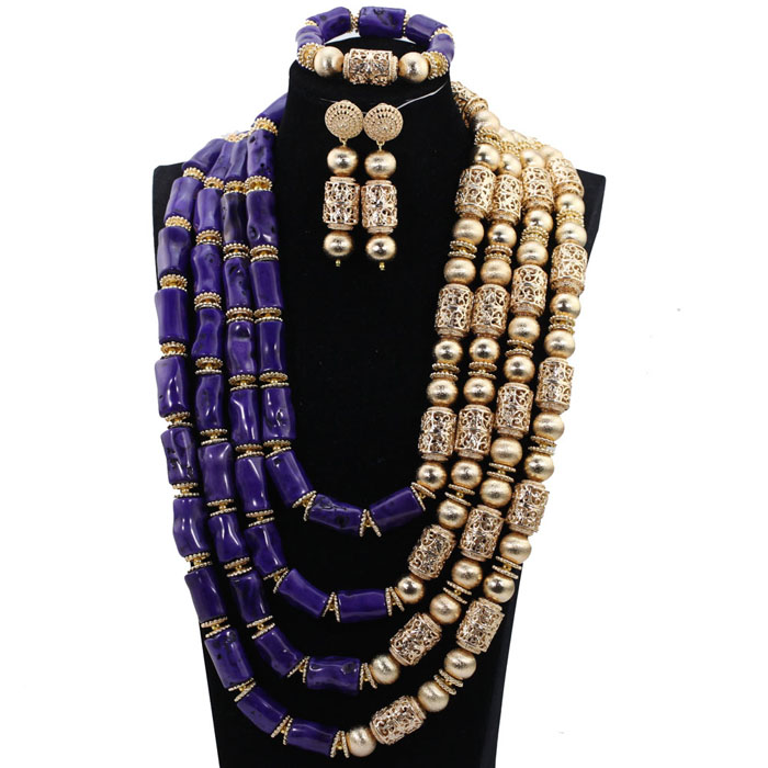 883b30292e Luxury Nigerian Wedding African Coral Beads Jewelry Set Real Coral Bead Big  Necklace Jewelry Set for Women Bride Gift ABH869