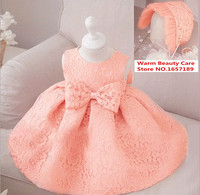 2pcs New born Baby girl dress+cap, infant birthday party wedding princess dress, toddler lace dress,gown bridesmaid infant