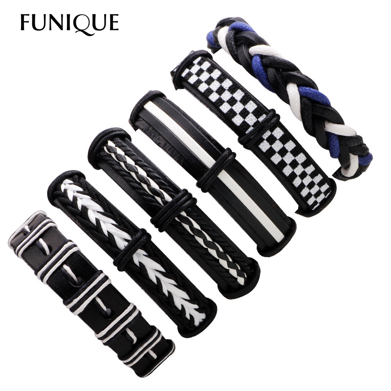 FUNIQUE 6pcs/set Punk Rock Leather Bracelets Trendy Black Ads