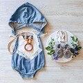 2016 macacão de bebê de algodão sem mangas verão Denim Infantil macacões com capuz sólida menina Romper roupas recém-nascido