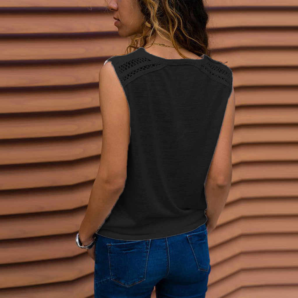 Feitong kobiet Tank Top Sexy koronki szwy solidny dekolt w serek kamizelka bez rękawów koszulka bluzka Debardeur Femme lato Top kobiety