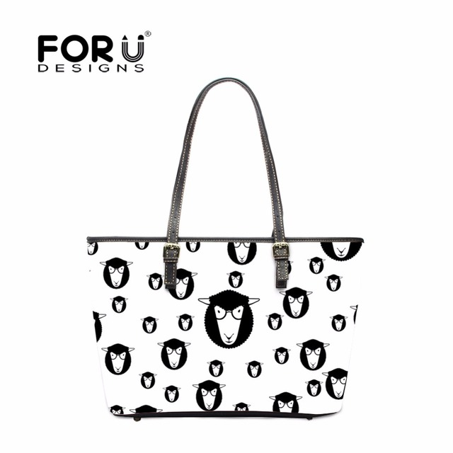 Forudesigns Cute Animal Cat Luxury Pu Leather Handbags For Women Large Las Tote Shoulder Bags
