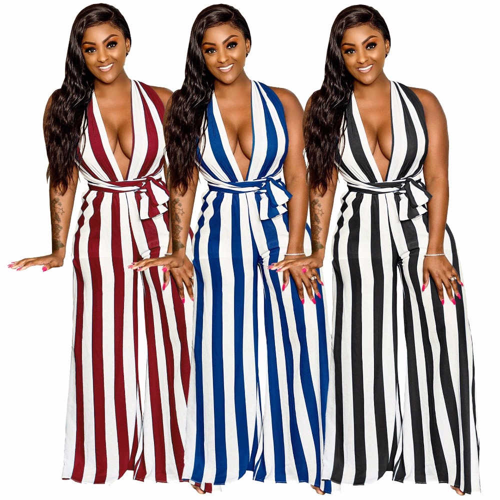 New Women 2019 Striped Deep V-neck Open Back Wide Leg Jumpsuit Sexy Beach Party Romper Fashion Outfit Playsuit 3 Color Smr9207x Famous For High Quality Raw Materials And Great Variety Of Designs And Colors Full Range Of Specifications And Sizes