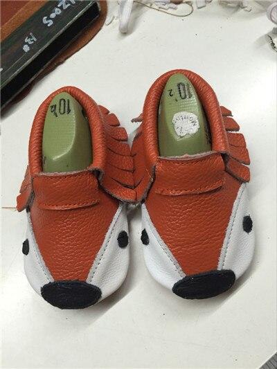 Новый Стиль Натуральная Кожа bebe девушки boy фокс печать кисточкой Первый Ходунки Детские мокасины обувь высокое качество бесплатная доставка