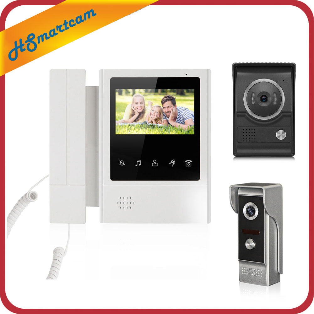 4,3 Color Video puerta teléfono intercomunicador timbre IR visión nocturna Cámara Monitor inicio intercomunicador sistema agregar 5m cable de prueba