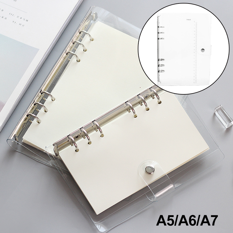Ring Binder Notebook Cover A5/A6/A7 Notepad Weekly Planner Protect School Convenient Transparent Student Waterproof Supplies