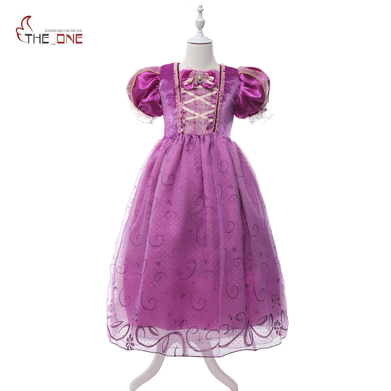 MUABABY Girl Dresses Princess Rapunzel Cosplay Costume Children Sequin Puff Sleeve Party Dresses Kids Ball Gown