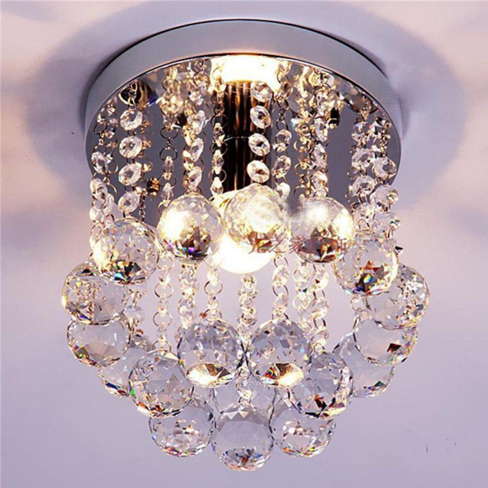 PROBE SHINY Crystal Droplets Silver Chrome Ceiling Light Chandelier Fitting Lamp