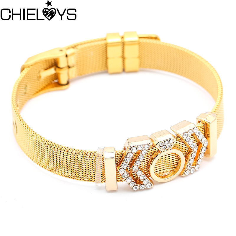 CHIELOYS High Quality Stainless Steel Mesh Bracelet Crown Charms Pandora Bracelet for European Woman Men Gifts Wholesale