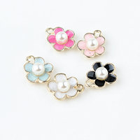 Wholesale 100PCs 11 14MM Gold Tone Plated Pearl Core Flower Jewelry Charms Oil Drop Enamel Floral