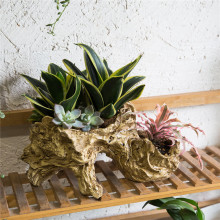 Multilayer Artificial Sculpture Tabletop Decorative Irregular Air Plants Secculent Pot Planter Driftwood Resin Flower Pot Bonsai