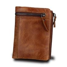 Genuine Crazy Horse Leather Men Wallet Short Coin Purse Small Vintage Wallets Brand High Quality Designer Card Holder Wallets