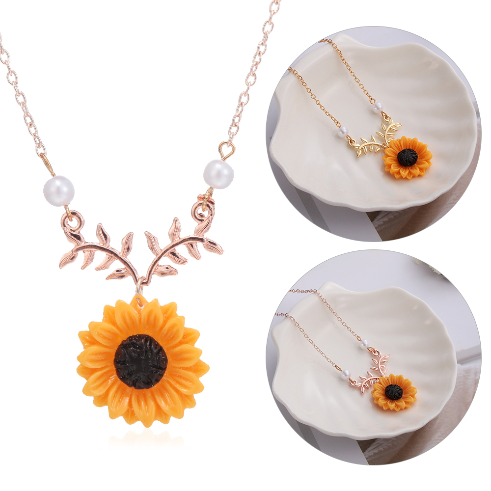 New Pendant Clavicle Necklace Cute Sunflower Leaf Branch