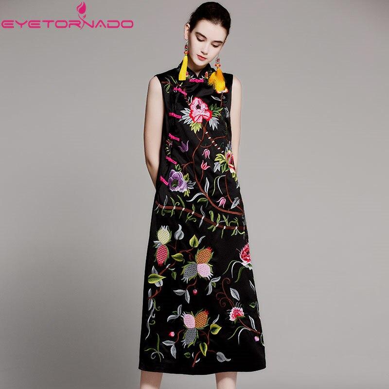 Роскошное платье Ципао с цветочной вышивкой, длинное винтажное платье с разрезом, женское Повседневное платье без рукавов для работы, Vestido