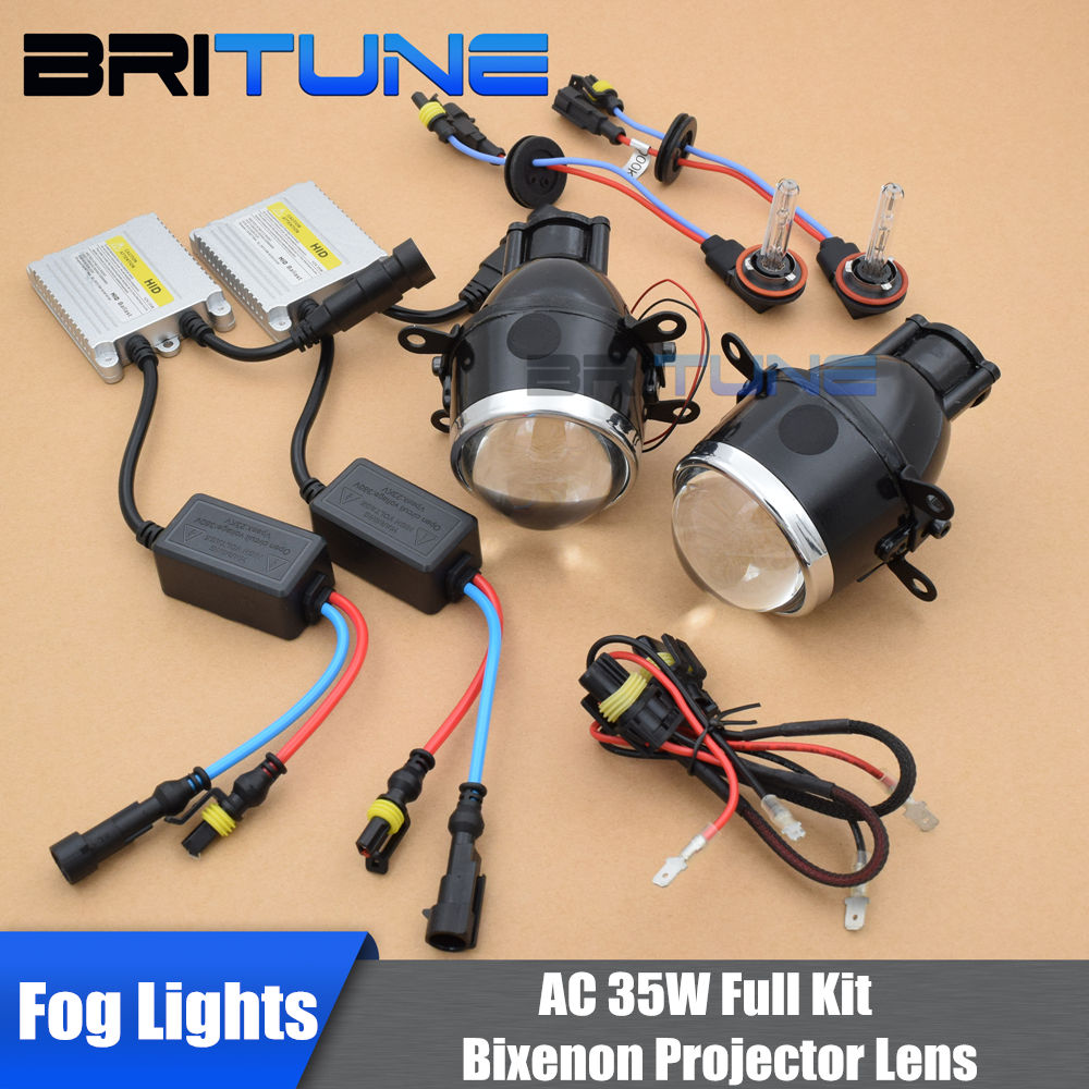 Universal 2.5 inch 3.0 inch HID Bi-xenon Fog Lights Projector Lens Bifocal Driving Lamps Retrofit DIY Full Kit 5500K 6000K 3000K hid bi xenon halogen bifocal high low beam projector fog light lens lamps holder for bmw 1 series 118i 120i e87 x3 e83 x5 e70