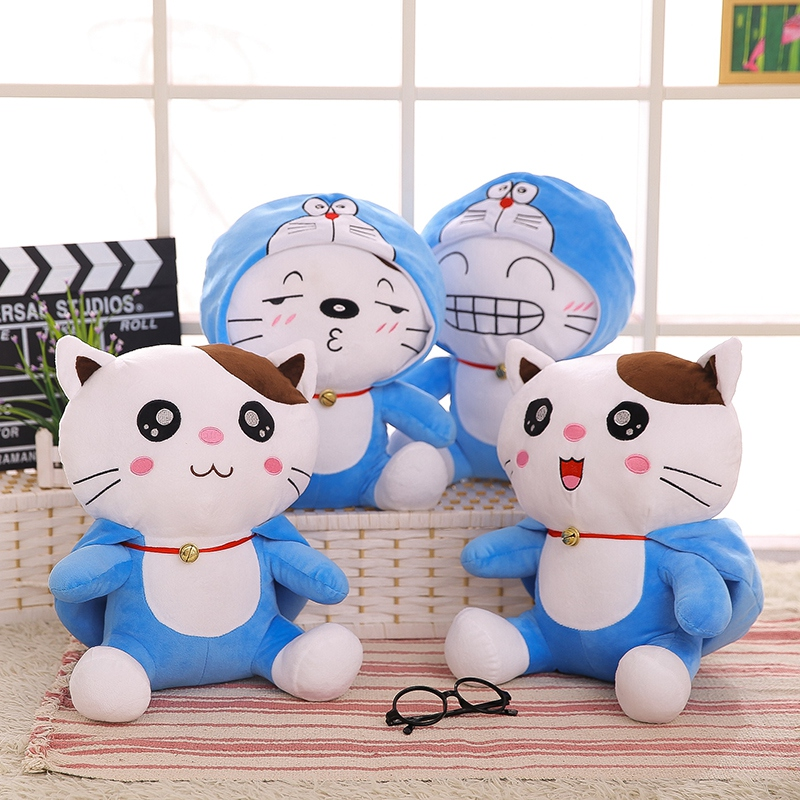 1pc 40cm Creative Kawaii Cats Turn to Doraemon Plush Toys Staffed Cute Cartoon Animal Doll Lovely Anime Gift for Kids Baby Child