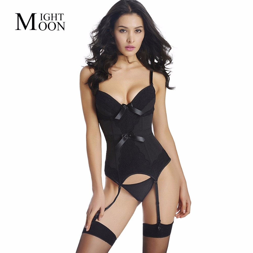MOONIGHT Women Purple Black Blue Sexy Corset and Bustiers with Lace Trim Female Fashion Body Shaperwear S M L XL XXL Tops