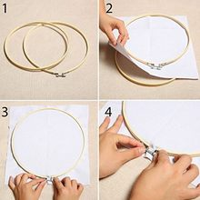 Embroidery Circle Set Hoops Cross Hoop Ring Wooden Round Adjustable Bamboo Hoops for Art Craft Handy Sewing kit (6pc 6inch)