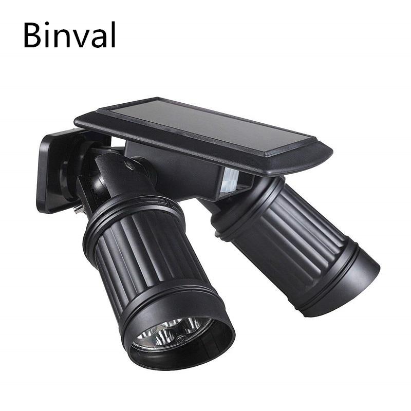 Binval LED Solar Lamp IP44 Security Rotatable Outdoor 14 LEDs Power Dual Head Motion Sensor Garden Wall Spotlight Lighting