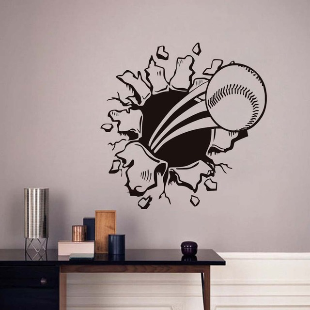 3D Baseball Hole Wall Decal Waterproof Art Vinyl Sports Decals Self  Adhesive Wallpaper For Kids Bedroom