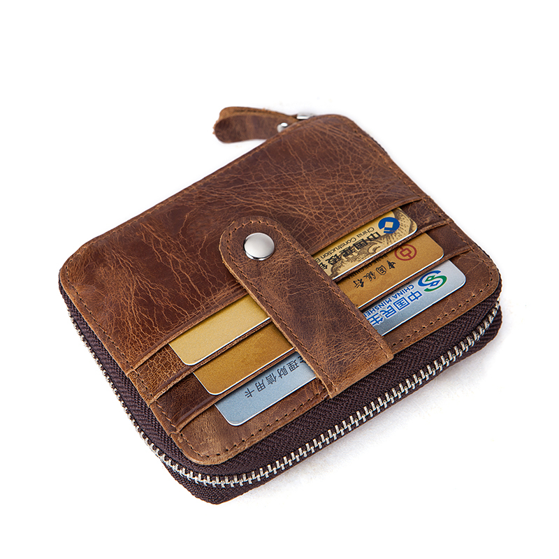 Cowhide Wallet Clutch-Coin-Purses Coin-Id Business Vintage Zipper Small Slim Male Genuine-Leather