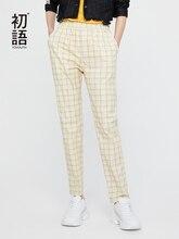 Pantalones Toyouth 女性ヨーロッパスタイルのチェック柄鉛筆のズボンスリップポケット弾性ウエストレディースストリートカジュアルシックな
