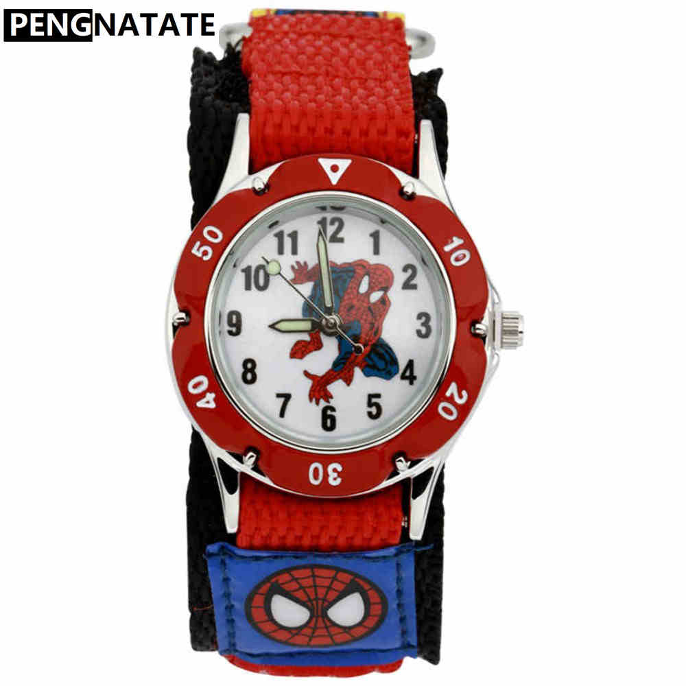 PENGNATATE Children Watches Boys Spiderman Hand Watch Gifts Fashion Luminous Analog Nylon Strap Cartoon Kids Bracelet Wristwatch