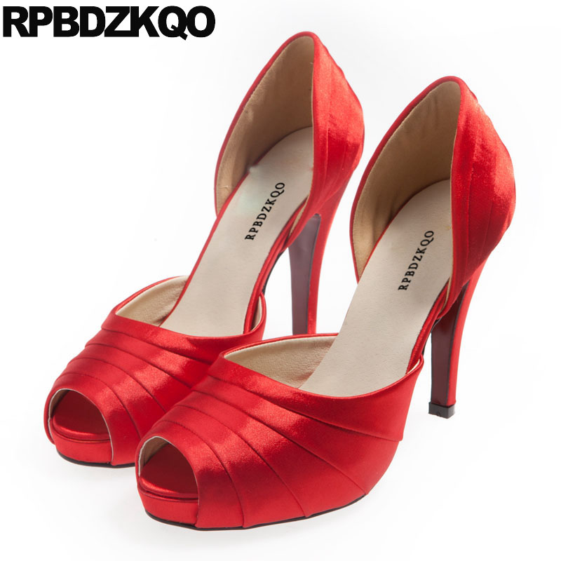 Extreme Scarpin Big Size Pumps 11 43 High Heels 10 42 Platform Bridal Red Satin Shoes Super Rainbow Silk Ladies Ultra Peep Toe thin mesh extreme ultra ladies pumps size 33 big 12 44 super 10 42 green high heels shoes white pointed toe special novelty